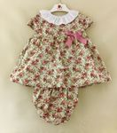 Baby Girls Dress Portuguese Dusky Pink Green Floral 3 6 12 18 24